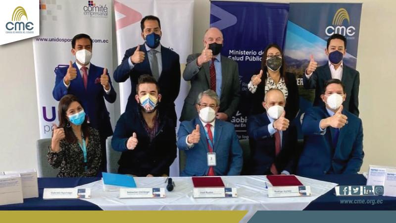 El Comité Empresarial Ecuatoriano y la Cámara de Minería del Ecuador comprometen la entrega de 4'000.000 de jeringuillas adicionales al plan de vacunación 9/100